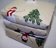 Cuddl Duds Heavyweight Cotton Snowman Pine Tree Flannel Queen Sheet Set New