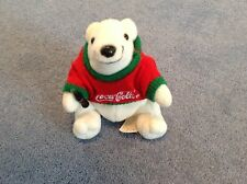 Coca Cola Bean Bag Plush Polar Bear in Red/Green Sweater 1997