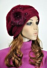 JM39 Rabbit Fur & Wool Women's Winter Hat Beanie Cap Cute Pearls Flower Wine-red