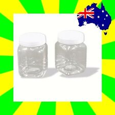 6 x Clear Plastic Bottles 200ml (82x55mm) with Screw Cap Jars