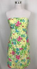 Lilly Pulitzer Womens Pink White Blue Eyed Girl Floral Strapless Dress 4 Small
