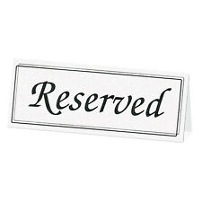 Black White RESERVED Table Signs Cards Wedding Reception Church - Pack 5 Tents