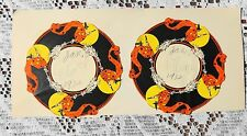 TWO ANTIQUE / VINTAGE ROUND HALLOWEEN CARDS DATED 1932 WITCHES AND FULL MOON
