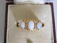 Victorian 18CT Gold Opal Diamond engagement ring size L UK, 5.5 US, HM,  Boxed