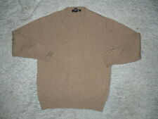 NEIMAN MARCUS SCOTLAND MENS 100% CASHMERE TAN CAMEL BROWN V NECK SWEATER sz M