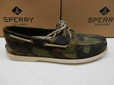 SPERRY TOP SIDER MENS BOAT SHOES A/O 2-EYE GREEN CAMO SIZE 9.5