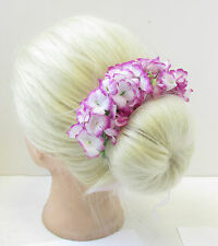 Purple Gypsophila Baby's Breath Bun Garland Flower Headband Hair Holder Belt T97