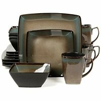 Gibson Elite Tequesta DINNERWARE SET, 16-Pcs Square Stoneware DINNER SET, Taupe