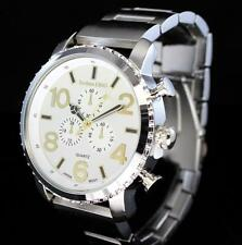 Silver Plated Polished 49mm Techno King Luxury Hip Hop Metal Mens Fashion Watch