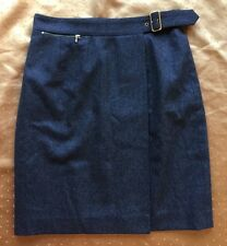 Gucci Gray Wool Gold Buckle Belted Wrap Skirt Sz 46