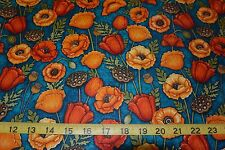 Yellow & Orange Poppy Flowers In Bloom Cotton Fabric by Quilting Treasures