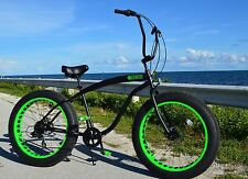 FLAT BLACK W GREEN ��Fat Tire Beach Cruiser Bike-NEW 7 SPEED-CUTOUT RIMS -SIKK