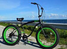 FLAT BLACK W GREEN ��Fat Tire Beach Cruiser Bike-NEW 7 SPEED-CUTOUT RIMS -SIKK