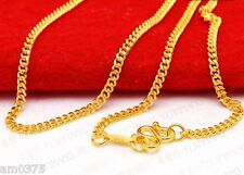 "New Authentic 999 24K Yellow Gold Necklace Elegant Curb Shape Link Chain 16.5""L"