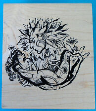 """large Acey Deucy rubber stamp, SUN WORSHIP,  mystical woman 3½"""" x 4⅛"""" wood block"""