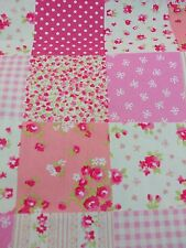 """Vintage Patches patchwork 100% cotton poplin fabric sold by the metre 45"""" wide"""