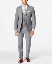 $650 Calvin Klein 38R31W Light Gray Plaid Two Button New Men's Suit Set VA887