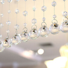 1String Crystal Clear Beaded Pendant Hanging Curtain Window Door Craft Decor 1M