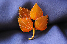 Vtg Russian Gold Plated Natural Honey Amber 4 Leaves Pin Brooch Signed .2RK
