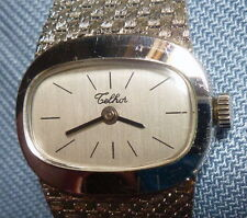 WATCH MONTRE TELHOR FOND ACIER WHITE GOLD PLATED PLAQUE OR WORK VINTAGE GIFT BOX