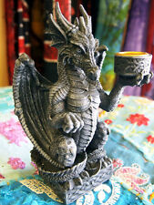 DRAGON CANDLE HOLDER Light Keeper GOTHIC TEALIGHT Candlestick Fantasy PAGAN