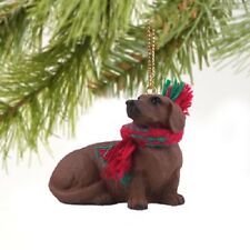 DACHSHUND red brown dog HAND PAINTED ORNAMENT Resin Figurine CHRISTMAS Puppy NEW