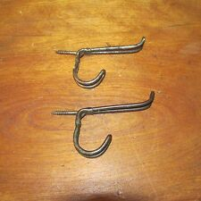 2 Matching Antique Victorian Thick Iron Wire Coat or Hat Hooks,3 Inch