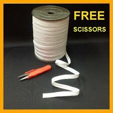 "Braided Elastic White 3/8"" inch 144 YARDS ROLL Spool with FREE SCISSORS"