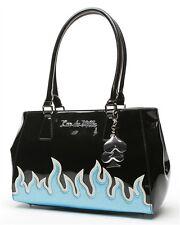 Lux De Ville Diabla Darling Tote Bag Black and Blue/Silver Flames Retro Hotrod