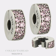 Authentic Pandora Sterling Silver Shining Elegance Pink CZ Clips (2) 791817PCZ