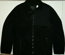 Aeropostale Mens Sherpa Fleece Zip Jacket Black Size XL NWT