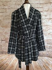 East Wrap Over Coat Jacket Black White Check Boucle Wool Blend 18