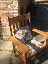 Child Mission Arts and Crafts Oak Chair Quarter Sewn Vintage