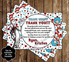 Dr Seuss - Cat in the Hat Baby Shower Thank You Cards - 15 Printed W/envelopes
