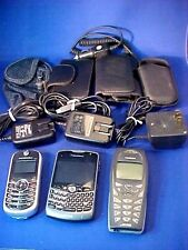 Lot of 3 Vintage Cell Phones Chargers & Cases BLACKBERRY NOKIA MOTOROLA Bundle