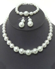 White Pearl Crystal  Faux Pearl  Wedding Prom  Necklace Earring And Bracelet Set