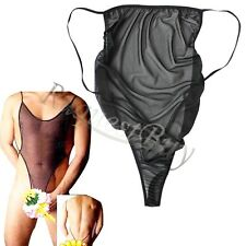 Sexy Mens Mesh Sheer Stretch Backless Undershirt Leotard Bodysuit Thong Lingerie