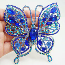 Elegant Blue Butterfly Insect Brooch Pin Rhinestone Crystal Silver Tone