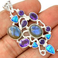 Labradorite, Amethyst & Fire Opal 925 Sterling Silver Jewelry SP215821