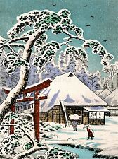 PAINTING POSTCARD JAPAN WINTER SCENE TORII TEMPLE GATE SNOW TREE POSTER LV2840