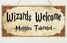 Wizards Welcome Plaque Sign Gift - Harry Potter Room House Present