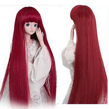 Red Size 8-9'' 1/3 BJD Doll SD Wig Dollfie DZ DOD LUTS 40cm Long Straight Hair
