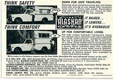1970 small Print Ad of The Alaskan Camper Pickup Truck Bed think safety comfort