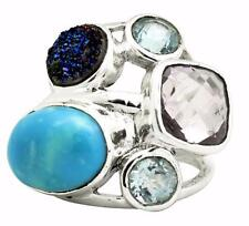 Turquoise, Amethyst, Blue Topaz Ring Solid 925 Silver Jewelry Size 6 EBR698