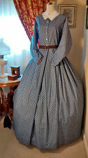 Civil War Reenactment Ladies Day Dress Size 18 Blue Paisley