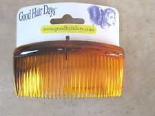 "Amber Shell Curved Back Side Combs 20 Tooth 3 3/8""  2 each Made in USA"