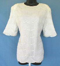 VINTAGE 1970s 80s SCALA SILK BEADED TOP SEQUINS WHITE SIZE LARGE POLY LINER