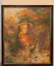 Signed Harry Myers Oil Painting Blonde Girl Garden.American Impressionist
