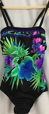 Talbots One Piece Swimsuit Exotic Floral Size 10 Strap or Strapless Multi-Color