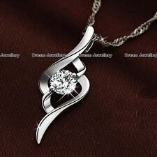 Silver Round Crystal Necklace Pendant Birthday Christmas Gift for her Girl Women